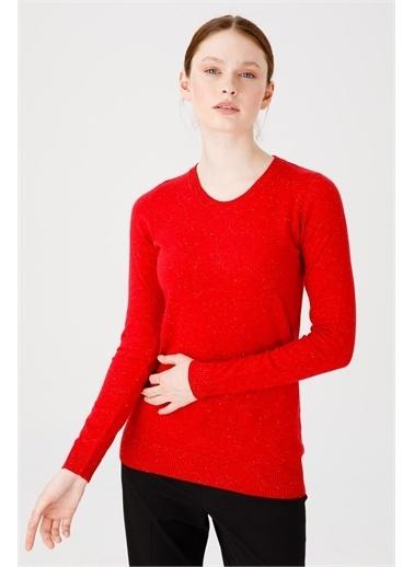 Desen Triko Kadın Sımlı Basıc Sıfır Yaka Bluz Sıyah Kırmızı